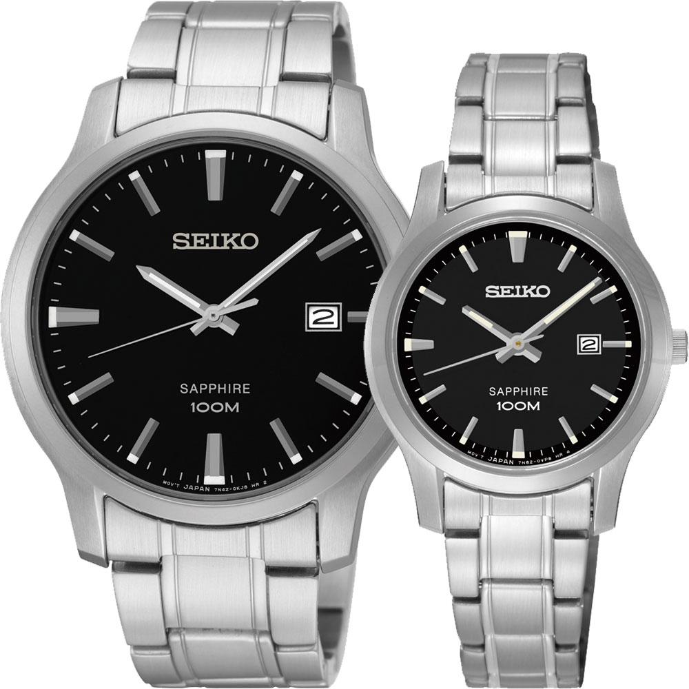 SEIKO CS系列石英對錶(SGEH41P1+SXDG63P1)-黑x銀/40+29mm