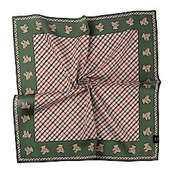 DAKS經典格紋小熊純棉帕巾-橄欖綠