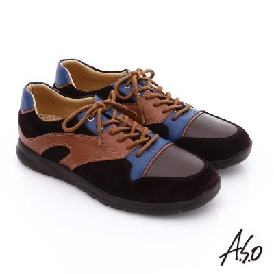 A.S.O 輕量抗震 真皮拼接活力休閒鞋 咖啡色