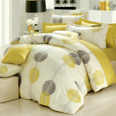 GOLDEN-TIME-圓舞曲-綠-精梳棉-加大四件式薄被套床包組