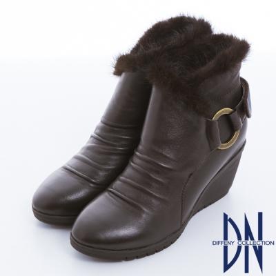 DN 歐美時尚 羊皮環釦設計貂毛滾邊楔型踝靴 深咖