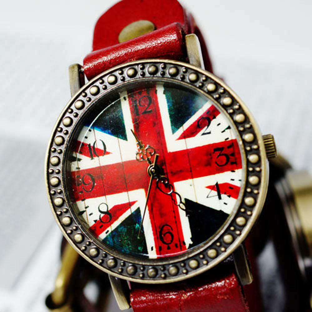 Ebusan BOBO 復古英倫風情皮革錶-紅/29mm