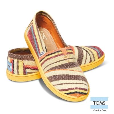 TOMS 鮮艷條紋懶人鞋-孩童款(黃)