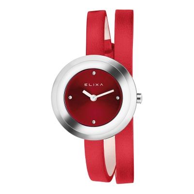 Elixa瑞士精品手錶 Finesse系列銀框 銀色晶鑽錶盤 紅色皮革纏繞式錶帶28mm