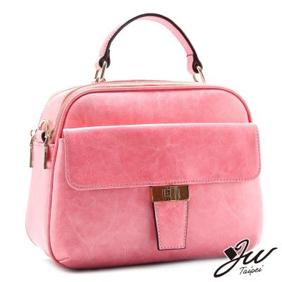 JW-真皮維也納古典時尚風情手提肩背兩用包-甜心桃