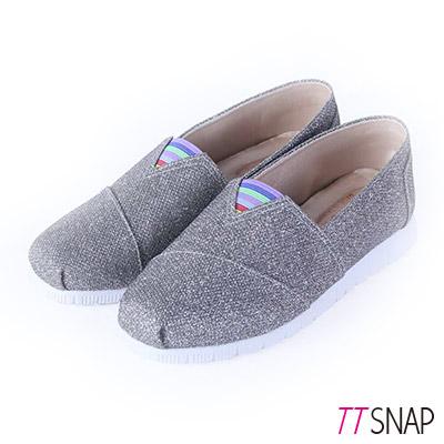 TTSNAP休閒鞋-MIT-奢華印象亮片軟Q平底懶人鞋-灰