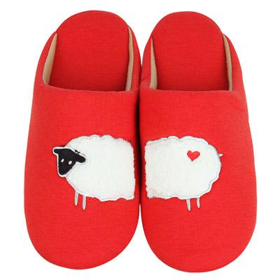 Yvonne Collection綿羊細條紋拖鞋-橘紅L