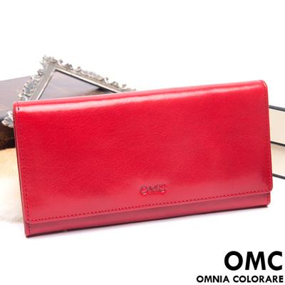 OMC - 原皮魅力系列多層多卡零錢式長夾-經典紅