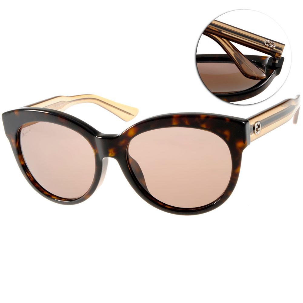 GUCCI太陽眼鏡 貓眼廣告款/琥珀#GG3757FS YU8CO