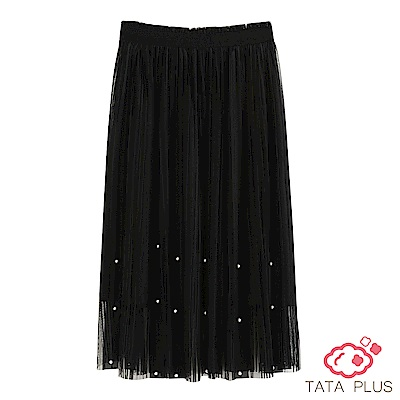 釘珠鬆緊腰紗裙 中大尺碼 TATA PLUS