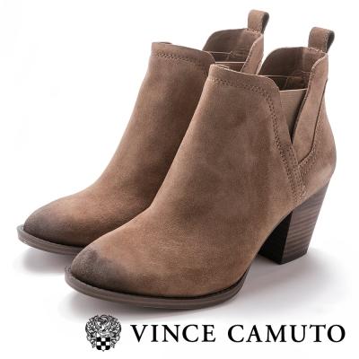 Vince Camuto 側V羊皮彈性帶刷色高跟踝靴-絨棕