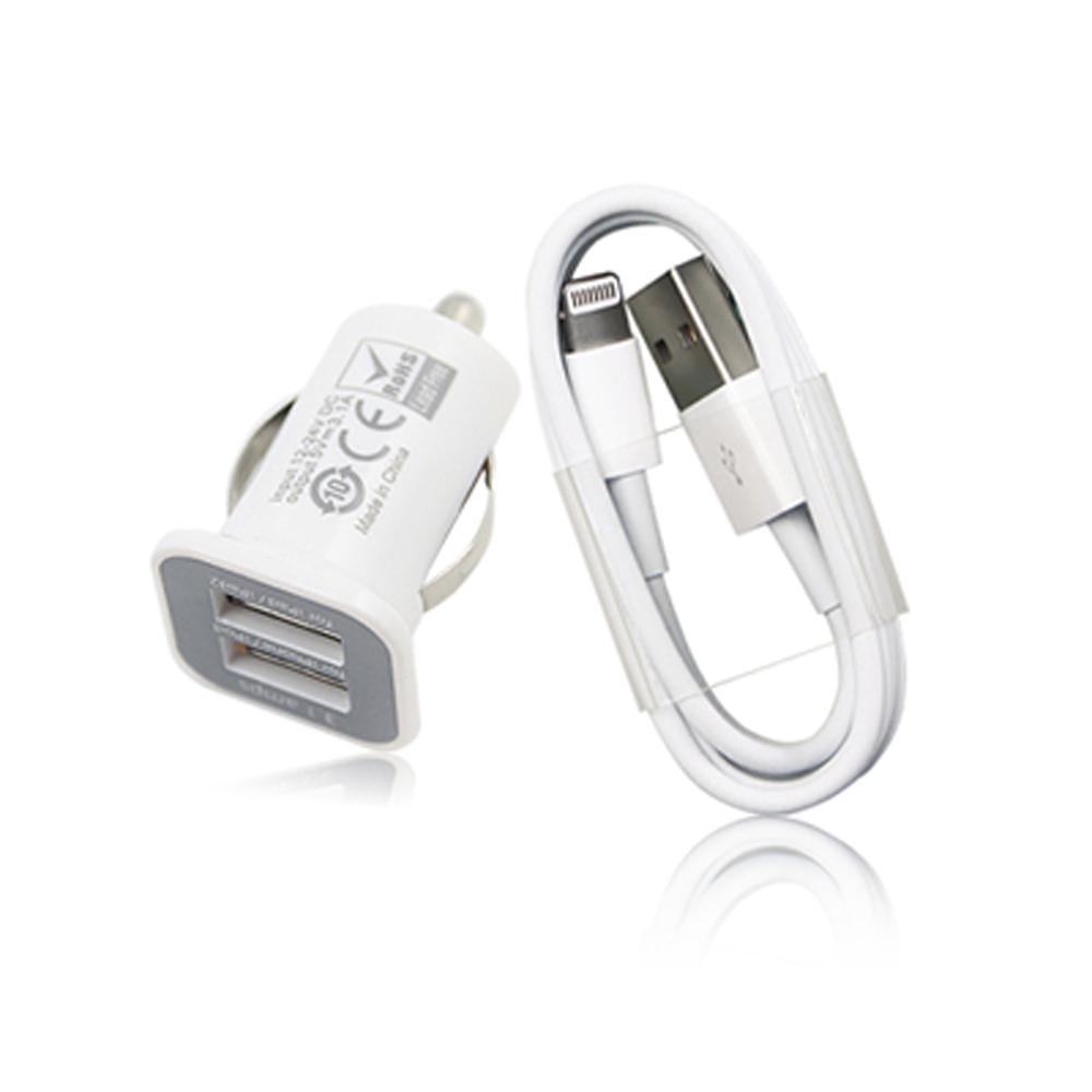 YHO for iPhone 5專用車充組(傳輸線+3.1A雙孔車充頭)