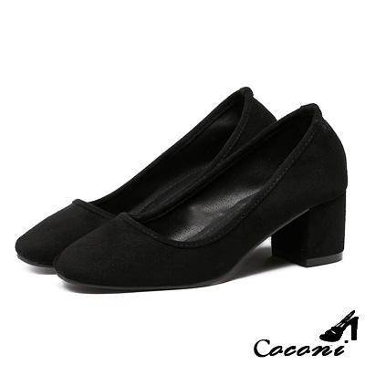 CoConi-粗跟鞋-絨面淺口方頭-黑