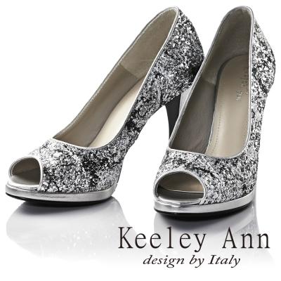Keeley Ann獨特魅力~舞動潑灑水彩質感高跟魚口鞋(銀色)