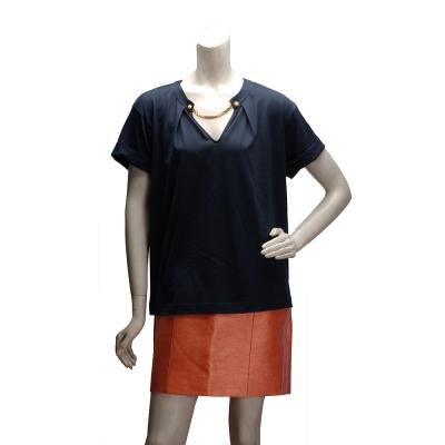 LV CA36929 路易威登V領金鍊裝飾休閒短袖T-shirt(深藍-L)
