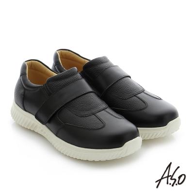 A.S.O 輕量抗震 牛皮魔鬼氈奈米機能休閒鞋 黑色