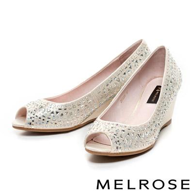 MELROSE-時尚閃耀晶鑽魚口楔型鞋-金