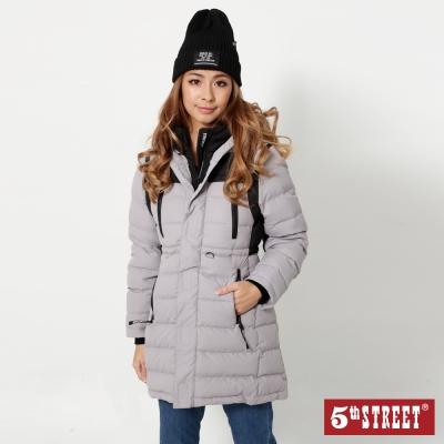 5th-STREET-運動風長版羽絨連帽外套-女-銀灰色