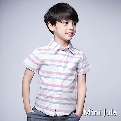 Mini Jule 童裝-襯衫 粉藍橫紋單口袋短袖襯衫(紅)