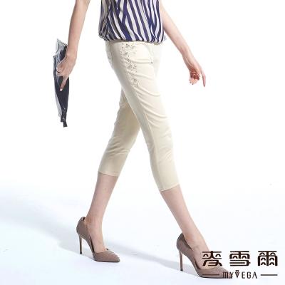 【麥雪爾】鑽飾繡花點點彈性棉質七分褲-共二色