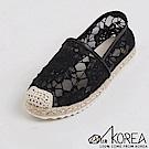 【AIRKOREA】韓國空運樂活夏日蕾絲微透裸肌拼接編織休閒懶人鞋 黑