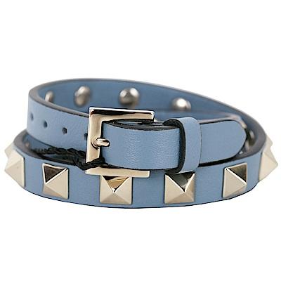 VALENTINO Rockstud 金色鉚釘雙繞小牛皮手環(薄霧藍)