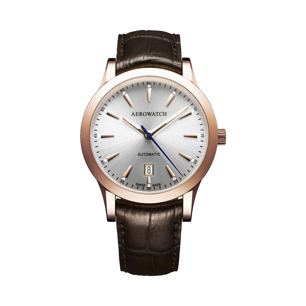 AEROWATCH 簡約紳士時尚機械腕錶-銀x玫瑰金框/41mm