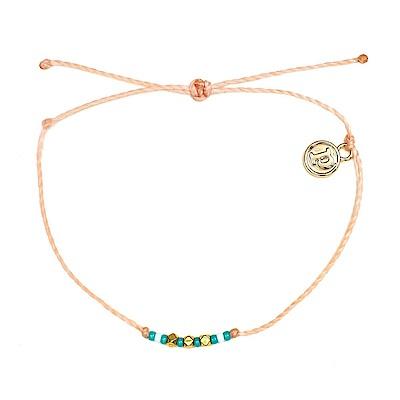 Pura Vida 美國手工 金玲瓏彩珠系列 腮紅橘臘線衝浪手鍊手環