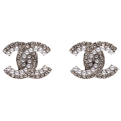 CHANEL 經典雙C LOGO水鑽珍珠鑲嵌穿式耳環(銀)