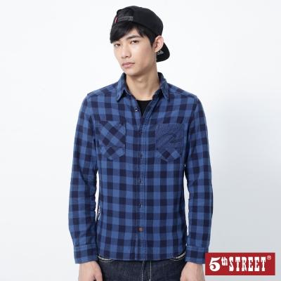 5th-STREET-休閒自在格紋襯衫-男-丈青