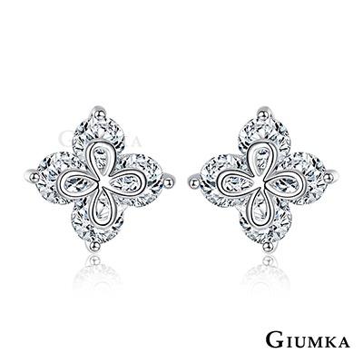 GIUMKA幸運草耳環 針式精鍍正白K-共2色