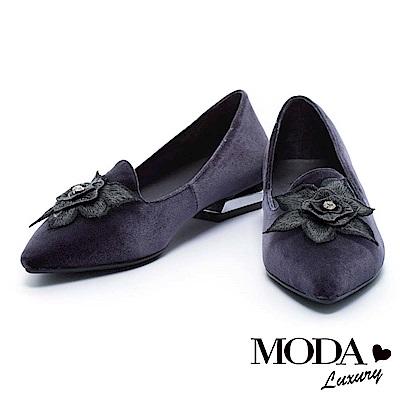 低跟鞋 MODA Luxury 優雅神秘立體花卉尖頭低跟鞋-灰