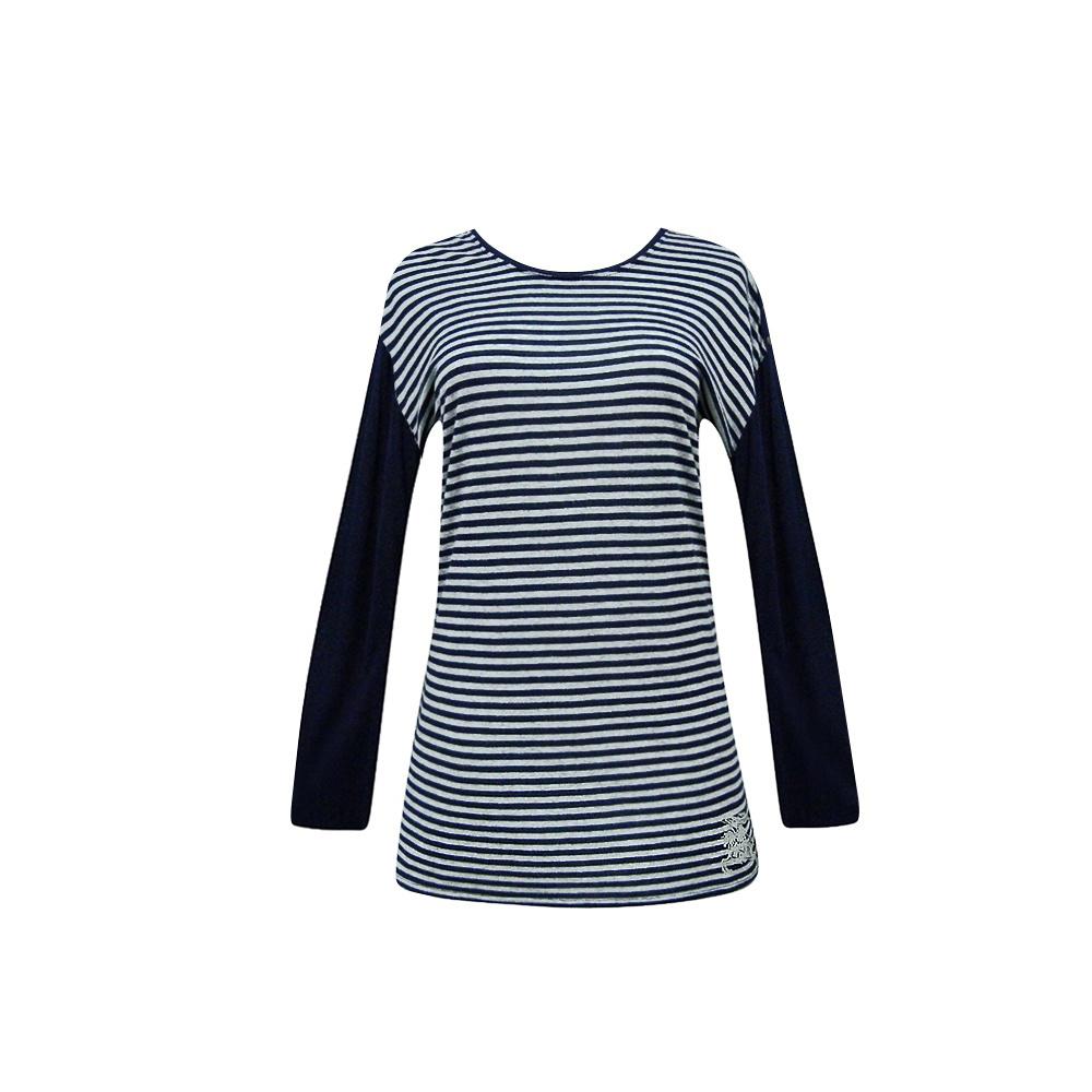 BURBERRY深藍色條紋長袖T恤