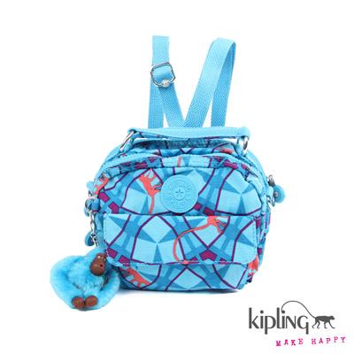 Kipling-手提包-夏日繽紛藍猴紋印花