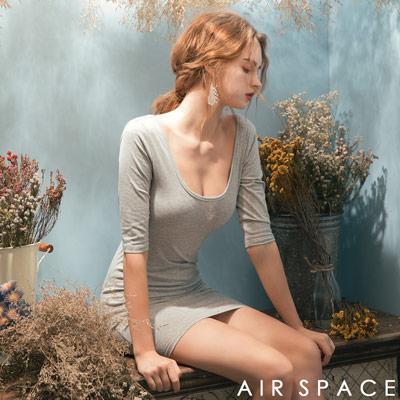 AIR SPACE 合身剪裁橫條紋包臀洋裝(花灰)