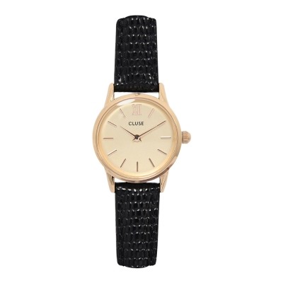 CLUSE VEDETTE系列 香檳金錶盤 玫瑰金框黑色壓紋皮革錶帶手錶24mm