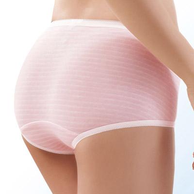 #  華歌爾-PH5.5酸鹼平衡褲M-LL條紋低腰平口款(甜美粉)