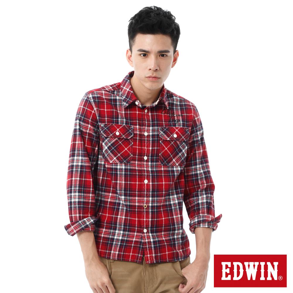 EDWIN 輕磨毛繡花格紋長袖襯衫-男-紅色格