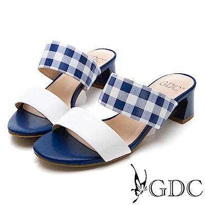 GDC-復古春夏格紋甜美一字低跟涼拖鞋-藍色