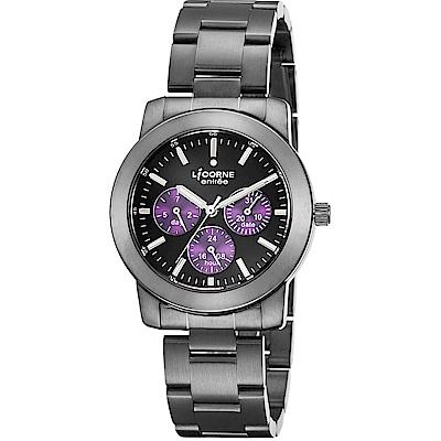 LICORNE 力抗錶 城市時尚三眼手錶-黑x紫/38mm