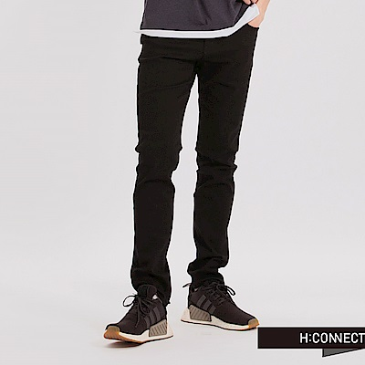 H:CONNECT 韓國品牌 男裝 - 基本純色彈性牛仔褲-黑