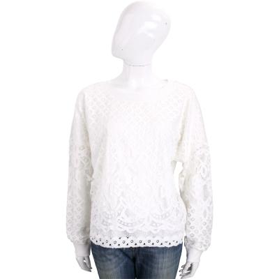 TRUSSARDI 白色縷空拼接蕾絲長袖上衣