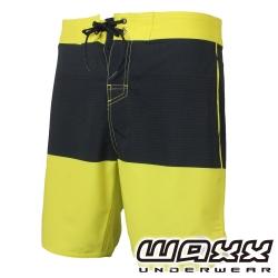 WAXX熱浪系列-黑黃拼接快乾型男衝浪褲(18英吋)