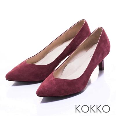 KOKKO日本彎折工藝經典尖頭透氣羊麂皮高跟鞋
