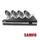 聲寶 8路主機(DR-XS0879HF)+4顆LED攝影機(VK-XC3528HS-B)