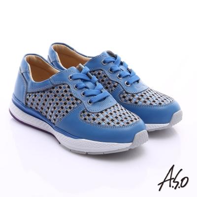 A.S.O 時尚風潮 真皮編織布料奈米綁帶休閒鞋 藍