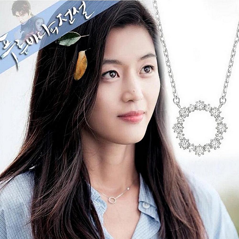 梨花HaNA 韓國925銀藍色大海的傳說全智賢優雅花環訂情物鎖骨鍊