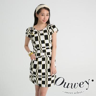 OUWEY歐薇-數位黑白格紋修飾洋裝
