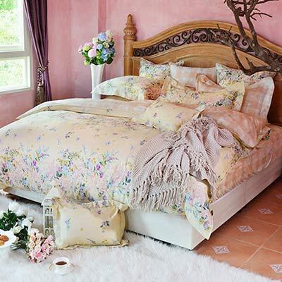 義大利La Belle 漫舞香氣 加大四件式防蹣抗菌舖棉兩用被床包組