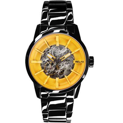 Relax-Time-馬卡龍鏤空系列時尚機械腕錶-黃xIP黑-45mm